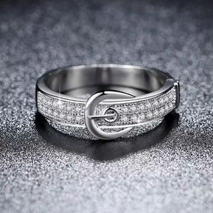 New Silver Belt Zirconia Ring Size 7, 8